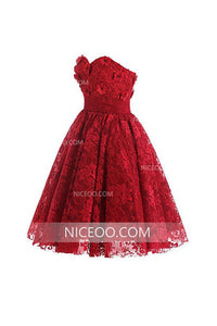 Red A Line Sweetheart Lace Knee Length Homecoming Dresses Cocktail Dresses - NICEOO