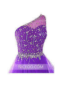 Purple A Line One Shoulder Organza Homecoming Dresses Mini Cocktail Dresses With Rhinestones