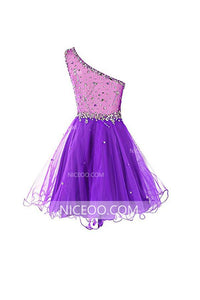 Purple A Line One Shoulder Organza Homecoming Dresses Mini Cocktail Dresses With Rhinestones - NICEOO