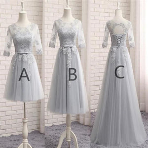 Elegant Gray Three Styles Sleeveless A Line Empire Waist Tulle Bridesmaid Dresses Prom Dresses