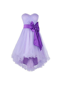 Cute Lilac Strapless High Low Homecoming Dresses Best Cocktail Dresses With Bow - NICEOO