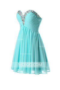 Blue Sweetheart Empire Waist Homecoming Dresses Affordable Cocktail Dresses With Rhinestone - NICEOO
