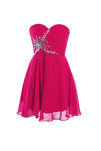 Rose Red Strapless A Line Chiffon Homecoming Dresses Cocktail Dresses With Beading - NICEOO