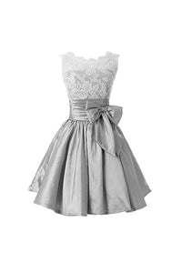 Silver Round Neck Sleeveless Homecoming Best Dresses Cocktail Dresses With Bow