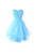 A Line Sweetheart Open Back Homecoming Dresses Mini Cocktail Dresses With Rhinestone - NICEOO