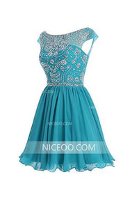 Round Neck V Back Homecoming Dresses Best Cocktail Dresses With Beading