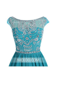 Round Neck V Back Homecoming Dresses Best Cocktail Dresses With Beading - NICEOO