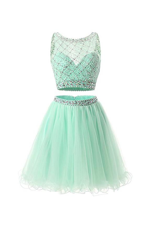 6509fcfc703 Mint Round Neck Two Pieces Lace Homecoming Dresses Cocktail Dresses With  Beading - NICEOO