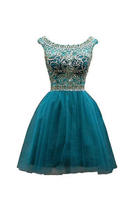 Round Neck V Back Sleeveless Homecoming Dresses Cocktail Dresses With Rhinestones - NICEOO