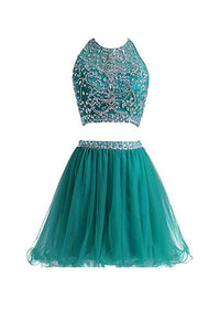 Two Pieces Round Neck Cut Out Homecoming Dresses Organza Cocktail Dresses With Beading
