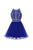 Navy Blue Round Neck Cross Back Homecoming Dresses Cocktail Dresses With Rhinestones - NICEOO