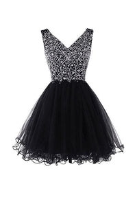 Black A Line V Back V Neck Homecoming Dresses Cocktail Dresses Organza With Beading - NICEOO