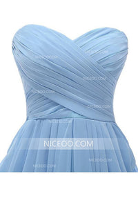 Simple Blue Strapless Chiffon Homecoming Dresses Cheap Cocktail Dresses