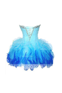 Pretty A Line Sweetheart Mini Organza Homecoming Dresses Best Cocktail Dresses With Rhinestones - NICEOO