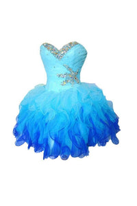 Pretty A Line Sweetheart Mini Organza Homecoming Dresses Best Cocktail Dresses With Rhinestones