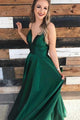 Green Spaghetti Strap Open Back Long Evening Dresses Satin Prom Dresses