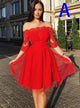 Red Off Shoulder Half Sleeves Homecoming Dresses,A Line Knee Length Prom Dresses
