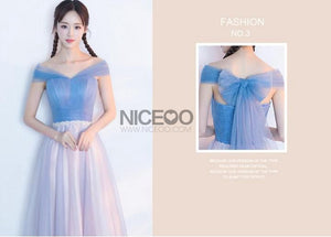 Unique Blue and Pink Four Styles A Line Empire Waist Long Tulle Prom Dresses Evening Dresses