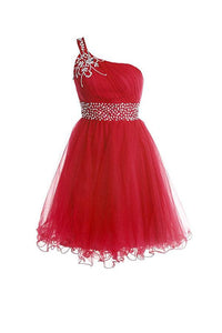 Red A Line One Shoulder Homecoming Dresses Cocktail Dresses With Rhinestones - NICEOO