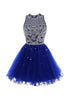 Royal Blue Round Neck Sleeveless Cut Out Homecoming Dresses Cocktail Dresses With Beading
