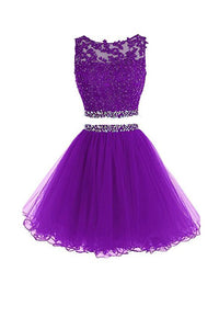 Purple Two Pieces Lace Homecoming Dresses Cheap Cocktail Dresses With Beading - NICEOO