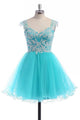 Baby Blue Sweetheart Strap Open Back Homecoming Dresses Short Cocktail Dresses - NICEOO