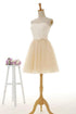 Simple A Line Strapless Tulle Short Homecoming Dresses Cocktail Dresses With Bow
