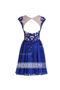 Navy Blue Round Neck Cut Out Sleeveless Chiffon Homecoming Dresses Cocktail Dresses - NICEOO