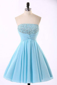 Baby Blue Strapless Open Back Chiffon Homecoming Dresses Short Cocktail Dresses With Beading - NICEOO