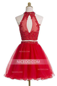 Red Two Pieces Halter Cut Out Homecoming Dresses Best Cocktail Dresses With Beading - NICEOO