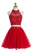 Red Two Pieces Halter Cut Out Homecoming Dresses Best Cocktail Dresses With Beading