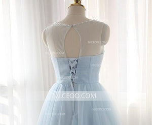 Light Blue Sweetheart Sleeveless Tulle Homecoming Dresses Cheap Cocktail Dresses - NICEOO