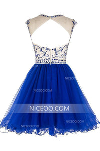 Round Neck Cap Sleeves Cut Out Homecoming Dresses Cocktail Dresses With Rhinestones - NICEOO