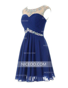 Navy Blue Round Neck Sleeveless Cut Out Homecoming Dresses Cocktail Dresses With Rhinestones - NICEOO