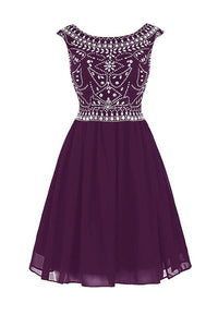A Line Round Neck V Back Sleeveless Homecoming Dresses Cocktail Dresses With Rhinestones - NICEOO