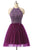 Purple A Line Halter Cut Out Tulle Homecoming Dresses Cocktail Dresses With Beading - NICEOO