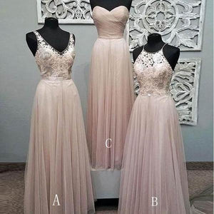 Sexy Pink Three Styles Sweetheart Sleeveless Affordable Chiffon Bridesmaid Dresses Prom Dresses