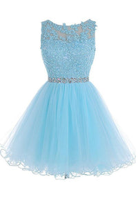 Tiffany Blue Round Neck Cut Out Short Homecoming Dresses Lace Cocktail Dresses