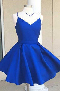 Royal Blue Spaghetti Strap V Neck Cut Out Homecoming Dresses Best Cocktail Dresses - NICEOO