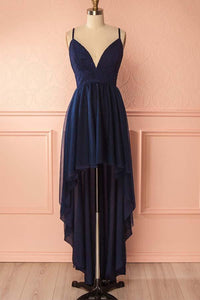 Navy Blue Spaghetti Strap V Neck High Low Homecoming Dresses Chiffon Cocktail Dresses - NICEOO