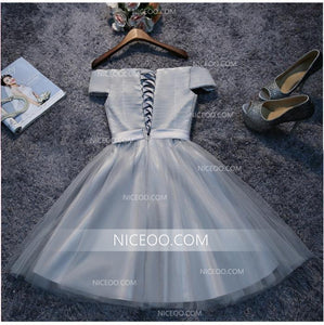 A Line Off Shoulder Mini Homecoming Dresses Tulle Cocktail Dresses - NICEOO