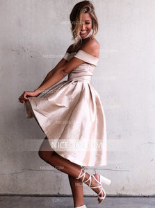 Champagne A Line Off Shoulder Satin Homecoming Dresses Affordable Cocktail Dresses - NICEOO