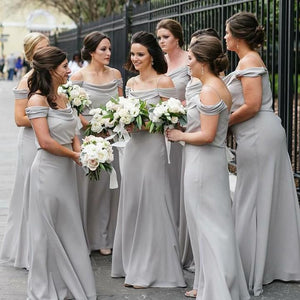 Simple Gray Off Shoulder Spaghetti Strap Empire Waist Chiffon Bridesmaid Dresses Prom Dresses - NICEOO