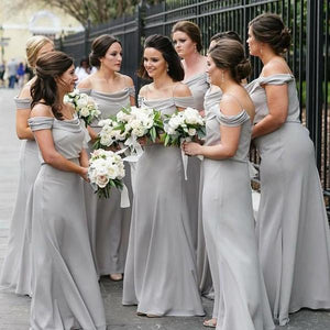 Simple Gray Off Shoulder Spaghetti Strap Chiffon Bridesmaid Dresses Prom Dresses