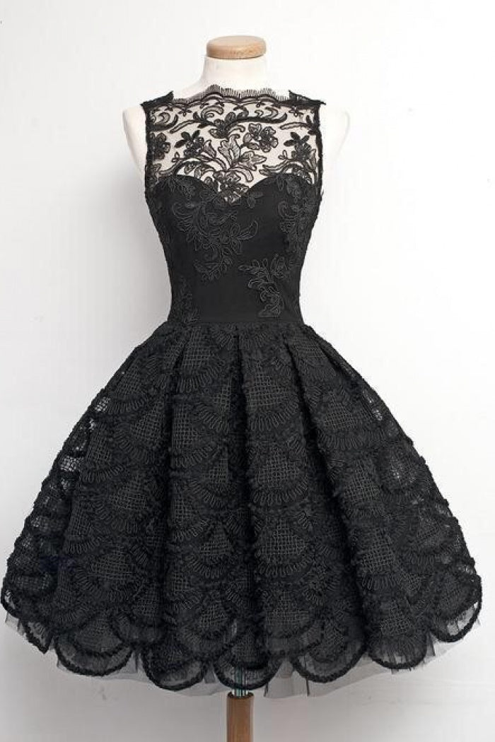 787dc8bb482 Simple Black A Line Sweetheart Knee Length Homecoming Dresses Lace Cocktail  Dresses