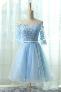Blue Off Shoulder Half Sleeves Short Homecoming Dresses Lace Cocktail Dresses