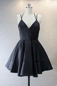 Sexy Black Spaghetti Strap V Neck Open Back Mini Homecoming Dresses Cheap Cocktail Dresses - NICEOO