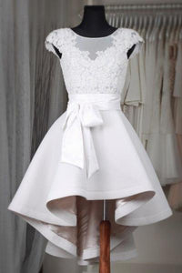 White Round Neck Cap Sleeves High Low Homecoming Dresses Cheap Cocktail Dresses With Bow - NICEOO