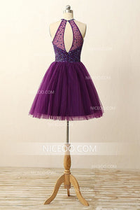 Purple A Line Halter Knee Length Homecoming Dresses Cocktail Dresses With Rhinestones