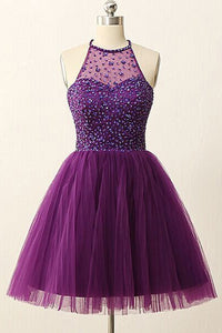 Purple A Line Halter Knee Length Homecoming Dresses Cocktail Dresses With Rhinestones - NICEOO